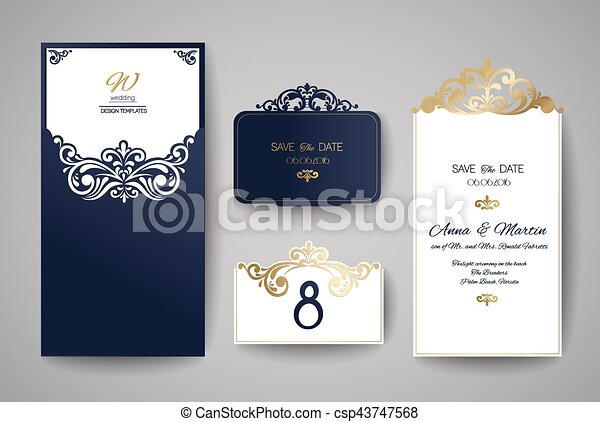 Wedding invitation or greeting card with gold floral ornament wedding invitation or greeting card with gold floral ornament wedding invitation envelope for laser cutting vector illustration stopboris Image collections