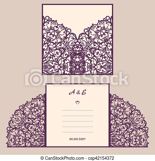 Wedding invitation or greeting card with abstract ornament vector wedding invitation or greeting card with abstract ornament vector envelope template for laser cutting paper cut card with silhouette cutout silhouette stopboris Image collections