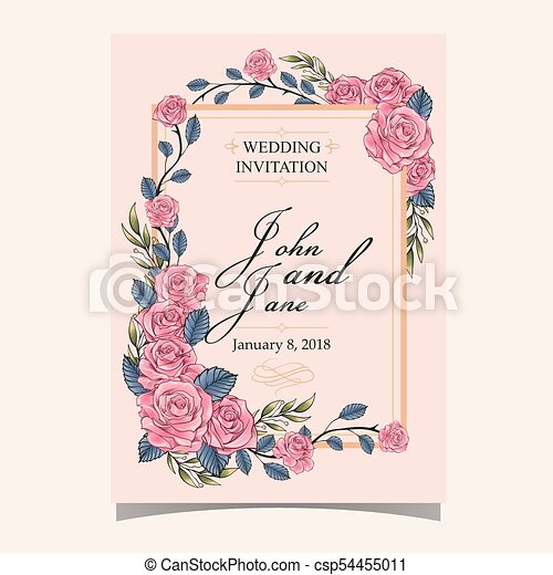 Wedding invitation pink roses pink colour background vector image wedding invitation pink roses pink colour background vector image stopboris Images
