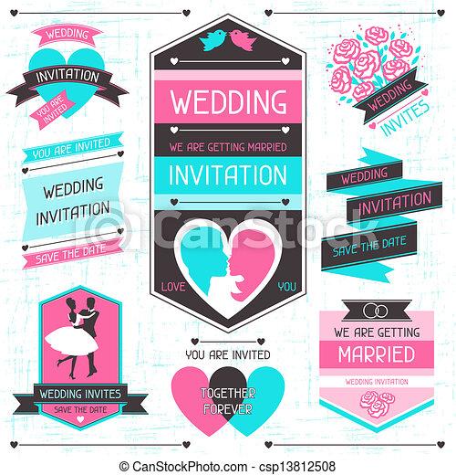 Wedding invitation retro set of design elements. - csp13812508