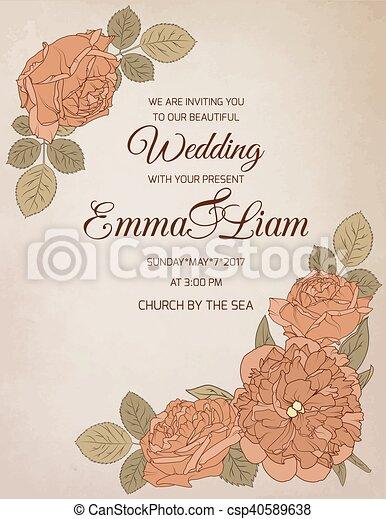 Wedding invitation rose peony flowers wedding invitation card wedding invitation rose peony flowers csp40589638 stopboris Image collections