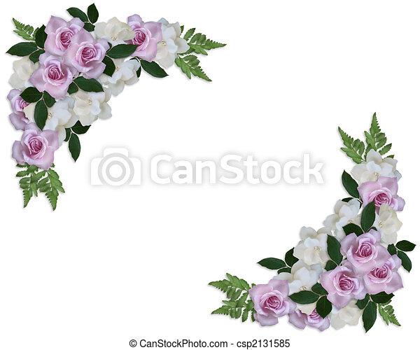 Wedding Invitation Roses and Gardenias  - csp2131585