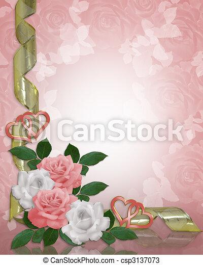 Wedding invitation Roses Border - csp3137073