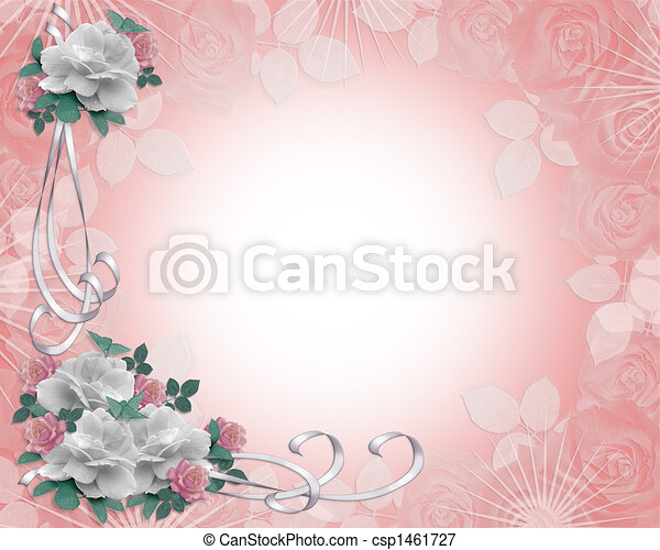 Wedding Invitation roses border - csp1461727