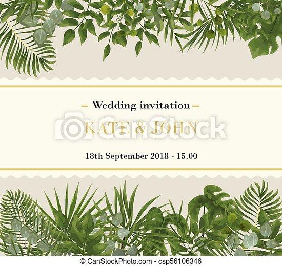 Wedding Invitation Rsvp Modern Card Design Vector Natural Botanical Elegant Template