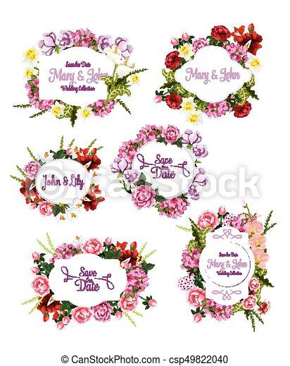 Wedding invitation save the date floral frame set. flower bouquet of ...