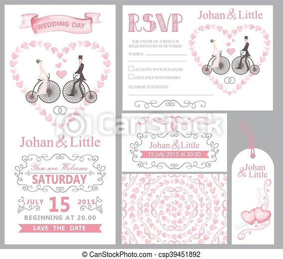 Wedding invitation setidegroomretro bikepink decor eps wedding invitation setidegroomretro bikepink decor csp39451892 junglespirit Image collections