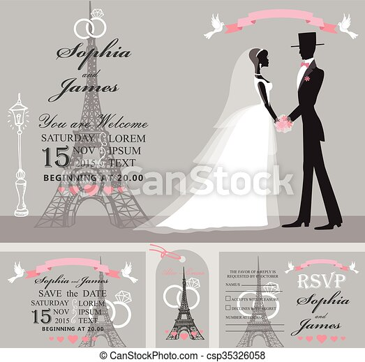 Wedding invitation setretro bridegroomeiffel tower clipart