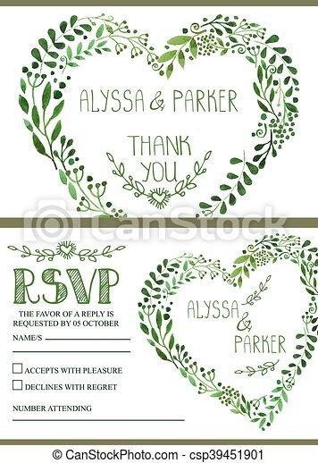 Wedding invitation setwatercolor green branches heart wreath wedding invitation setwatercolor green branches heart wreath csp39451901 stopboris Gallery