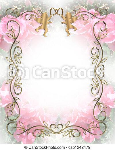 Wedding Invitation Soft Pink Roses