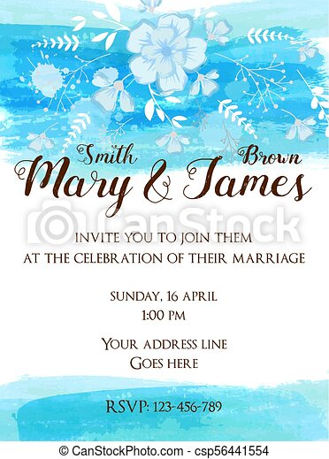 Wedding Invitation Template With Abstract Florals On Watercolor Brushed Background Blue Colored