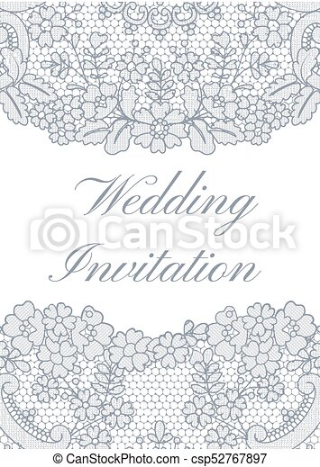Wedding invitation template with gray lace border on white background wedding invitation template csp52767897 stopboris Choice Image