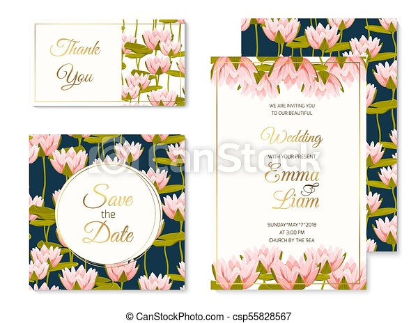 Wedding invitation template set water lilly flower wedding marriage wedding invitation template set water lilly flower csp55828567 stopboris Image collections