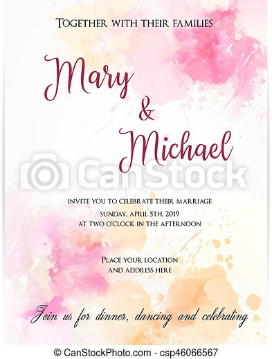 Wedding invitation template with abstract flowers. - csp46066567