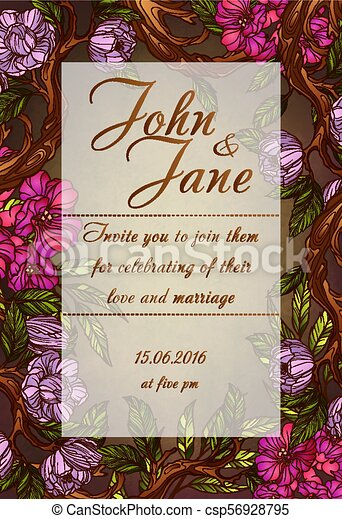 Wedding invitation template with magnolia flowers - csp56928795