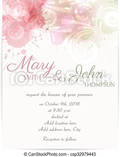 Wedding invitation template with abstract florals elements - csp32979443