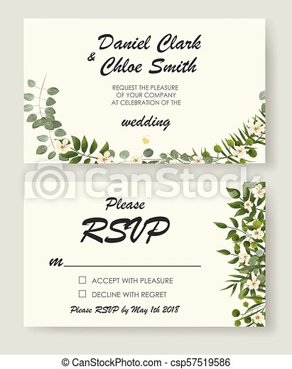 Wedding Invitation Template With Peonies Flowers And Green Leaves Rsvp Is A Modern Card Design Natural Botanical Elegant Vector Illustration