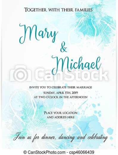 Wedding invitation template with abstract flowers. - csp46066439