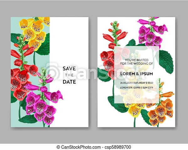 Wedding Invitation Template With Flowers And Palm Leaves Tropical