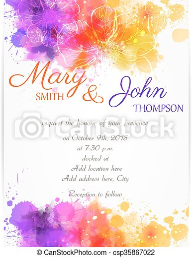 Wedding invitation template with abstract flowers - csp35867022
