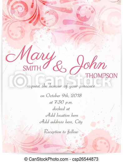 Wedding invitation template with abstract florals - csp26544873