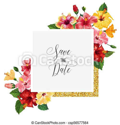 Wedding Invitation Template With Red Hibiscus Flowers And Golden Frame Save The Date Floral Card For Greetings Anniversary Birthday Baby Shower