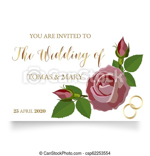 photograph about Printable Wedding Card titled Wedding ceremony invitation template with rose, ring and leaf