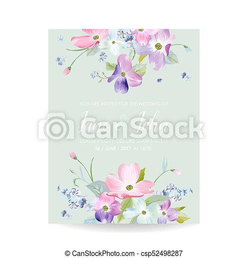 Wedding Invitation Template With Spring Dogwood Flowers Romantic Floral Save The Date Greeting Card For Celebration Watercolor Botanical Design