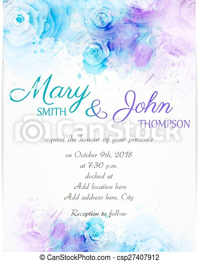 Wedding invitation template with abstract florals - csp27407912