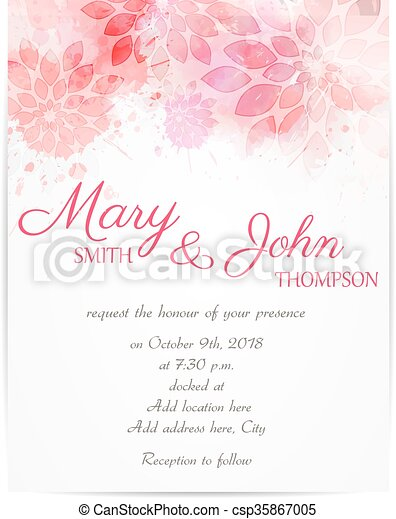Wedding invitation template with abstract flowers - csp35867005