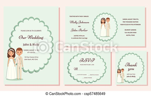 Wedding Invitation Templates Greeting Cards Vector Illustration