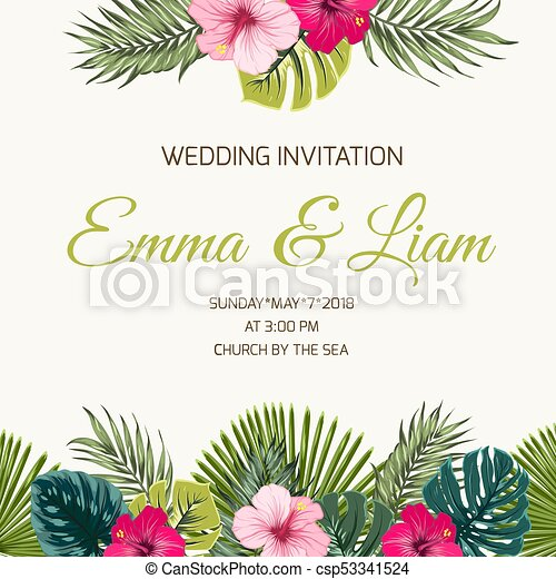 Wedding Invitation Tropic Leaves Hibiscus Greenery