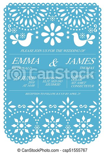 Wedding invitation vector card template mexican folk papel clip wedding invitation vector card template mexican folk papel picado style stopboris Image collections