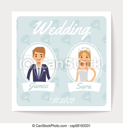 Wedding Invitation Vector Card With Happy Married Couple Cartoon Bride And Groom Wedding Love Groom And Bride Card