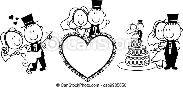 Set of isolated cartoon couple scenes, ideal for funny ...