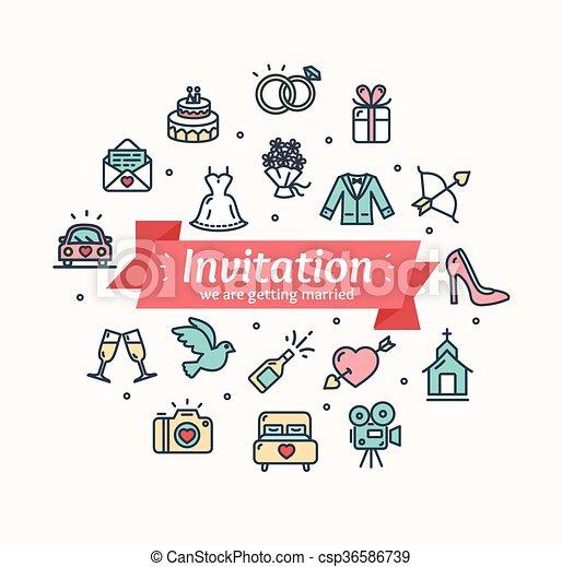 Wedding invitation vector wedding invitation with colorful icons wedding invitation vector stopboris Choice Image
