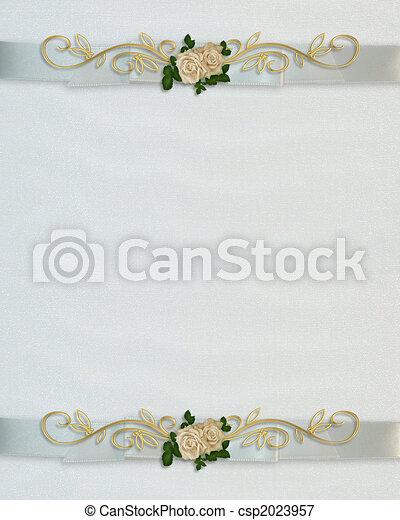 Wedding invitation White roses - csp2023957