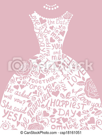 Wedding invitation with beautiful elegant wedding dress. vector ...