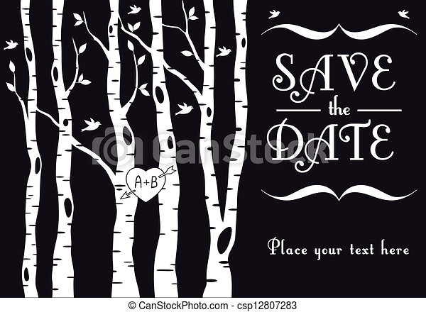 Wedding invitation with birch trees Wedding invitation template