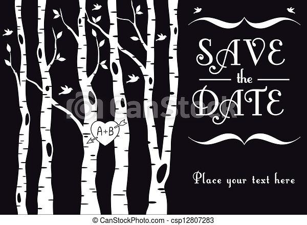 wedding invitation with birch trees - csp12807283