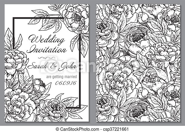 Wedding Invitation With Black And White Peony Flowers