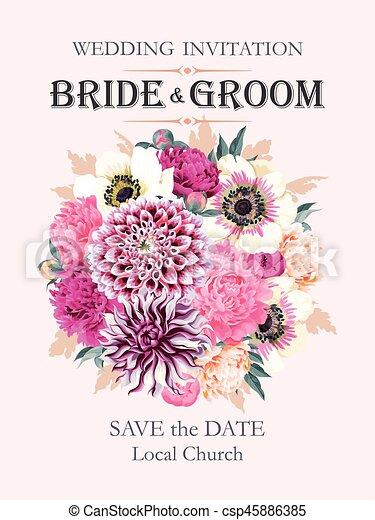 Wedding invitation with flowers vector wedding invitation with high wedding invitation with flowers csp45886385 stopboris Images