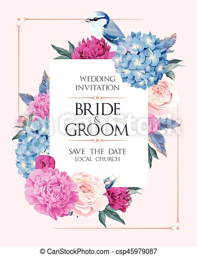 Wedding invitation with flowers vector wedding invitation vector wedding invitation with flowers csp45979087 stopboris Images