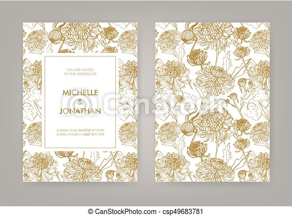 Wedding Invitation With Golden Japanese Chrysanthemum Vertical Card Monochrome Vector Illustration
