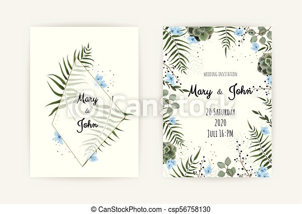 Wedding Invitation With Green Leaf Eucalyptus Branches Decorative Wreath Frame Pattern Vector Elegant Watercolor Rustic Template