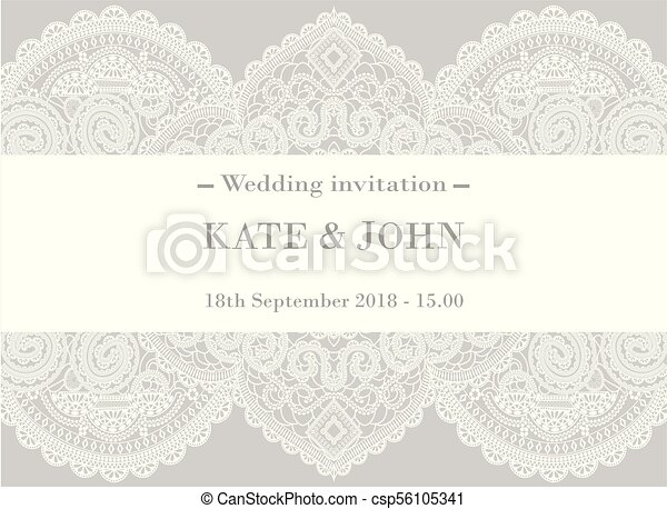 Wedding invitation with lace vector illustration wedding invitation with lace csp56105341 stopboris Images