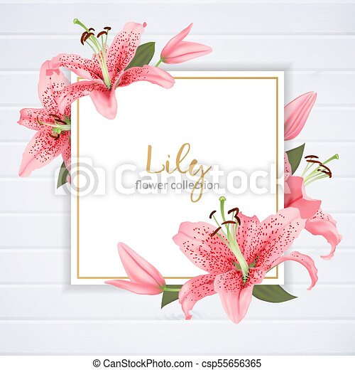 Wedding invitation with lily flowers vector illustration stopboris Image collections