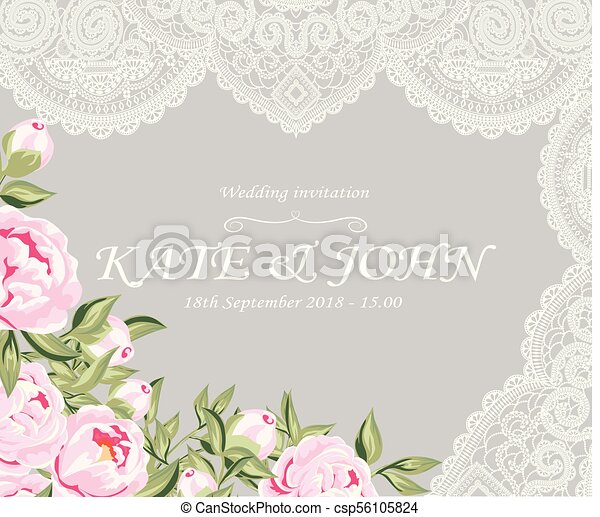Wedding invitation with peonies and lace vector illustration wedding invitation with peonies and lace csp56105824 stopboris Images