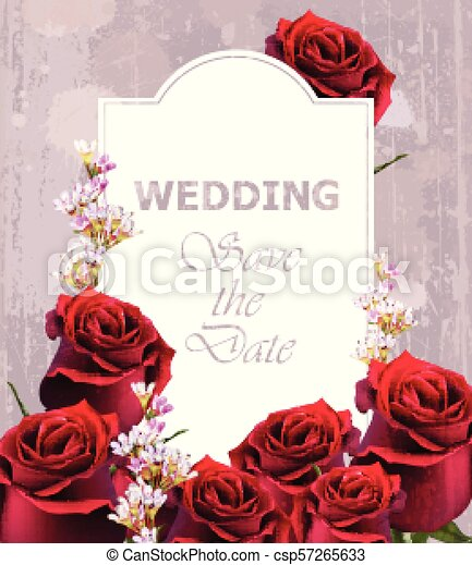 Wedding invitation with realistic roses vector. vintage floral ...