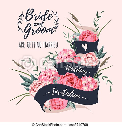 Wedding invitation with ribbon vector wedding invitation with wedding invitation with ribbon csp37407091 stopboris Gallery
